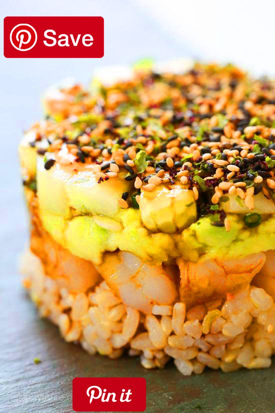 Spicy California Shrimp Stack These EASY shrimp stacks will satisfy your sushi craving and they taste SO GOOD! Layered with cucumber seas avocado shrimp and brown rice then topped with a spicy mayo  YUM! You dont need any fancy tools I layered everything in a one-cup measuring cup then flipped it over. Then topped it with spicy mayo soy sauce and Furikake which is a Japanese condiment made with blend of sesame seeds and seaweed and spices available at most health food stores Amazon or yo
