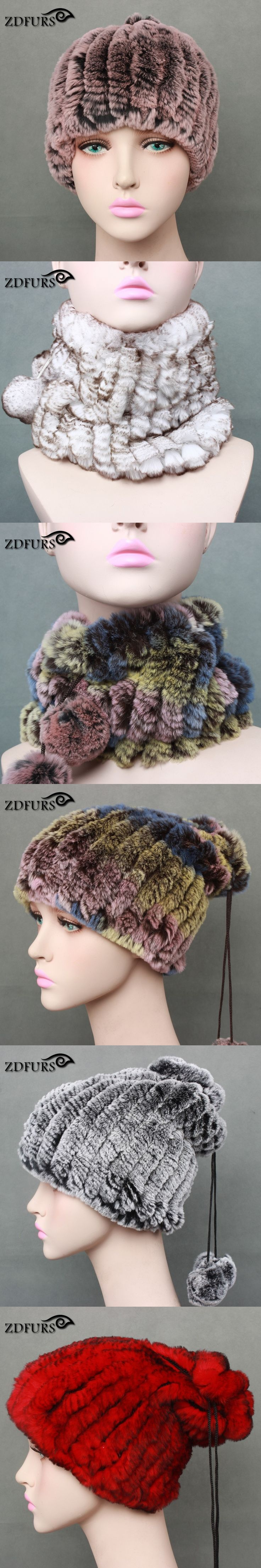 Glaforny 2017 New Arrival Knitted Rex Rabbit Fur Hats with 2 fur balls Real Rabbit Fur Scarfs Women Winter Fur Beanies Russian