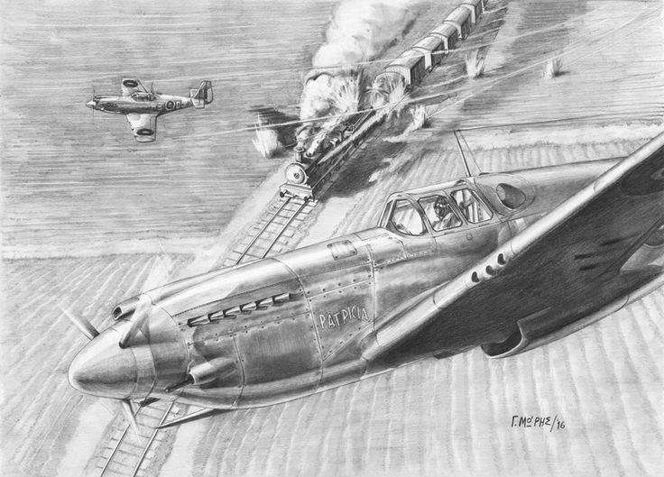 """Theodore """"Dan"""" Lambros – Moris Georgios / Μώρης Γεώργιος This drawing shows Theodore """"Dan"""" Lambros (Lambrinos), a Greek Canadian pilot of RAF & RCAF during WWII, in a mission over France, during the period he received the baptism of fire with No.239 Squadron . The aircraft is the Mustang Mk.I Serial: AG560 and stands in the foreground with the indication «PATRICIA». More info in the book """"Greeks in Foreign Cockpits Vol.II"""" Copyrights - Moris Georgios"""