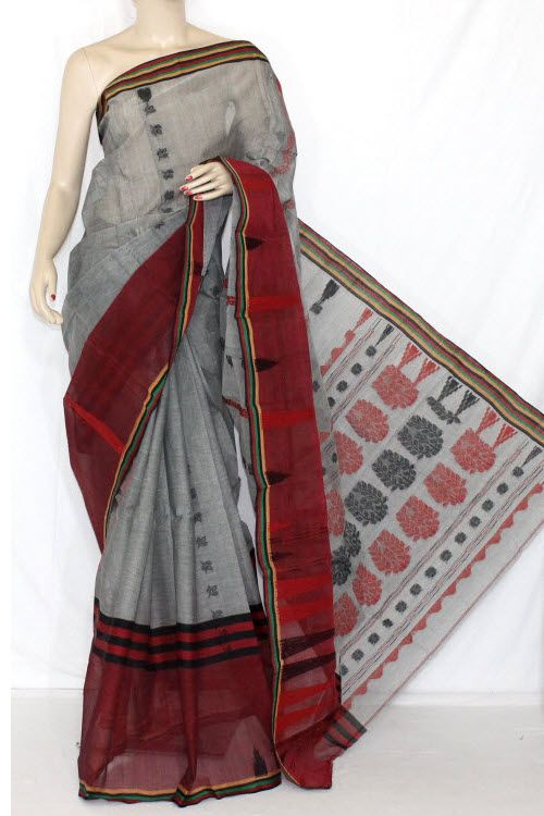 Grey Maroon Handwoven Bengali Tant Cotton Saree (Without Blouse) 14150