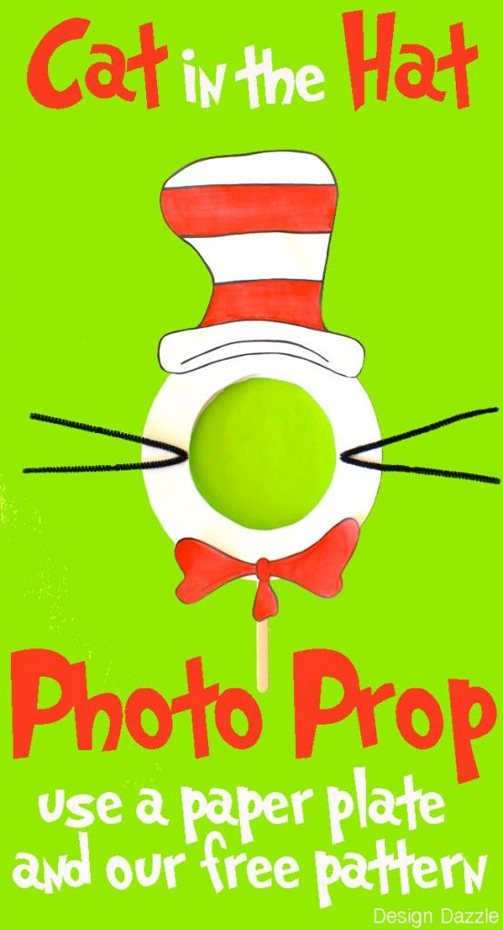 DIY: Cat in the Hat Photo Prop. Use a paper plate and our free pattern to create your own photo prop - perfect for a Dr. Seuss party or classroom activity.  http://www.designdazzle.com/2014/02/diy-cat-hat-photo-prop/   #catinthehat  #drseuss  #readacrossamerica  by DesignDazzle