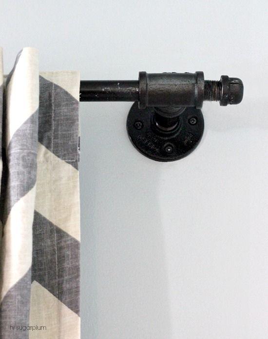 industrial pipe curtain rod Hi Sugarplum via Remodelaholic