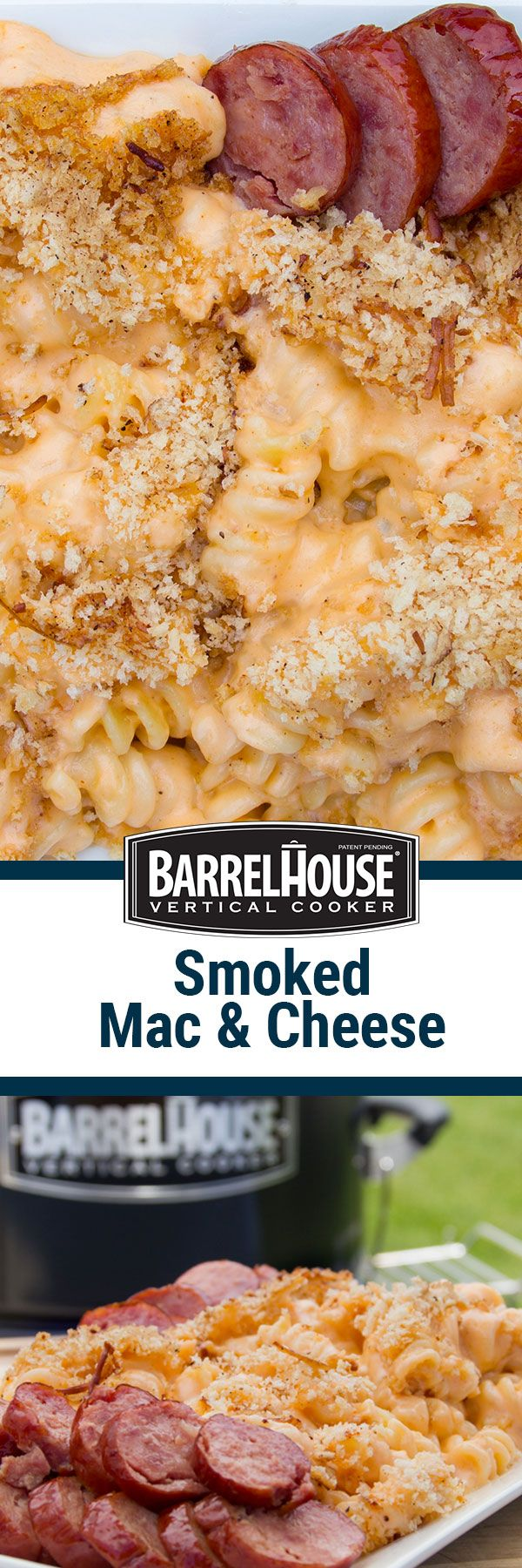 Rich, creamy 4-cheese mac and cheese featuring gouda, parmesan, cheddar, and cream cheese is taken up a notch by smoking it in your Barrel House Cooker, pellet grill (e.g. Traeger), or offset smoker. Don't have a smoker? This mac and cheese recipe tastes great baked in the oven! Pair this smoked mac & cheese with sausage, and you've got a delicious take on some classic comfort food.
