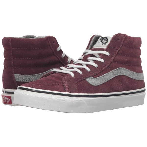 Vans SK8-Hi Slim ((Vintage Suede) Red Mahogany) Skate Shoes ($70) ❤ liked on Polyvore featuring shoes, sneakers, suede sneakers, red trainer, high top shoes, red high tops and red suede shoes