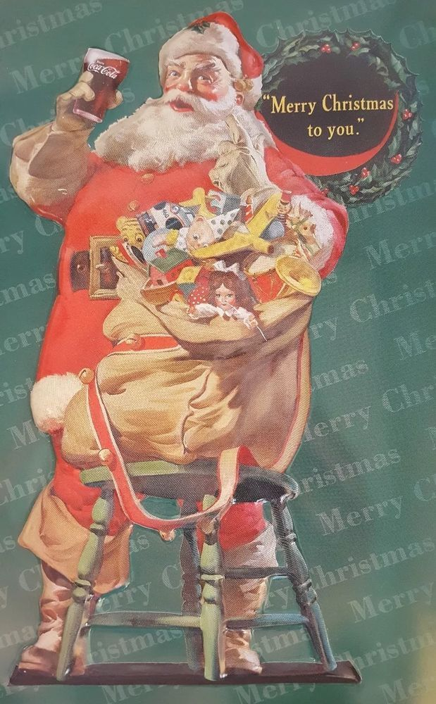90s Christmas Background.Details About Santa Claus Coca Cola Merry Christmas Tin Vintage 90s