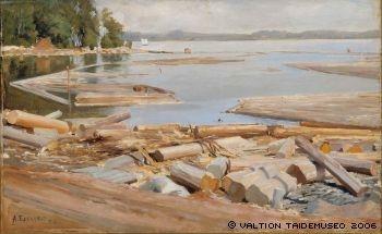 Edelfelt, Albert: Tukkilautta, 1886. Ateneum.