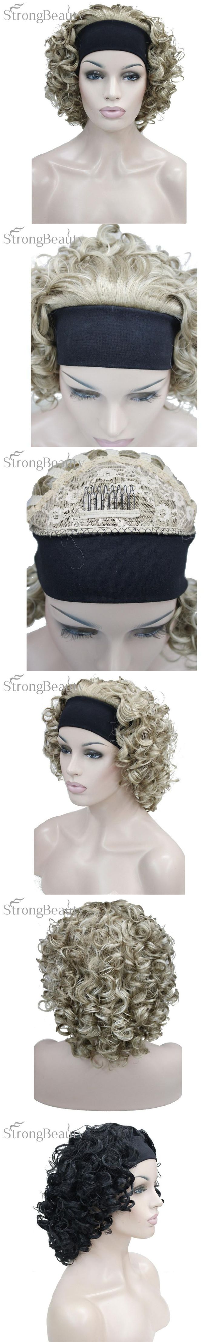 Strong Beauty Synthetic Hair Fake Short Kinky Curly Blonde Black Wig With Headband Wigs Natural For Black Women
