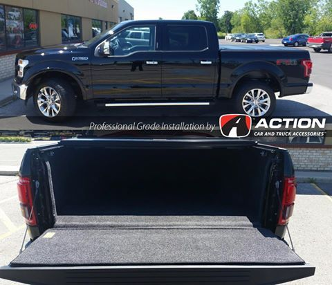 Fibermax Tonneau Cover by Bak Industries and bed liner by BedRug installed on this 2016 F150 Lariat