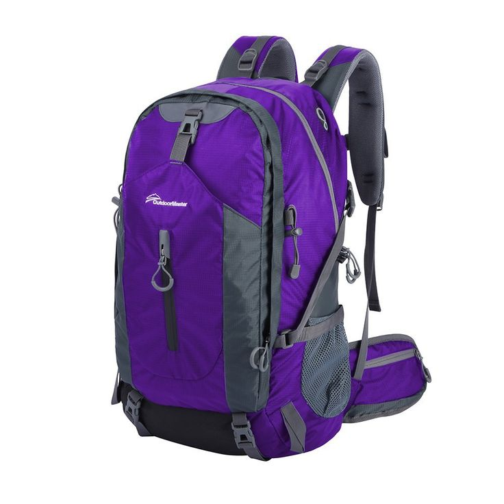 OutdoorMaster Hiking Backpack 50L Weekend Pack w Waterproof Rain Cover Laptop Compartment for Camping, Travel, Purple Grey