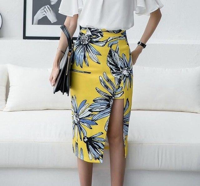 Split Women Skirt Pencil High Waist Skirts Print Flower Skirt Gril Knee-Length Skirts S-3Xl YELLOW S