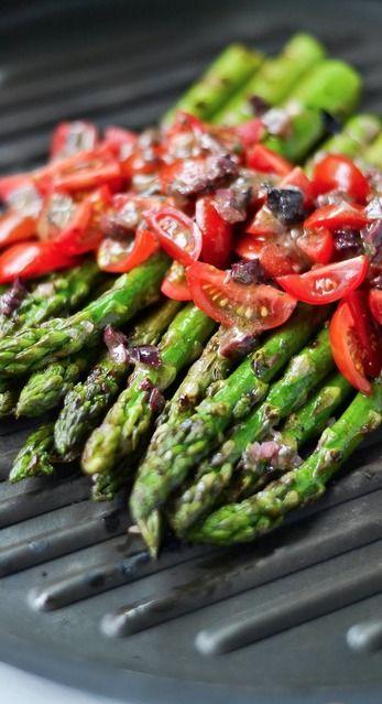 grilled asparagus with kalamata olive vinaigrette....