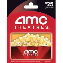 AMC Cinemas $25 Gift Card available for US residents for 10,500 points. Complete online surveys and market research and get a $25 AMC Card. Click here for more information http://www.tellwut.com/product/50-AMC-Cinemas--25-Gift-Card.html