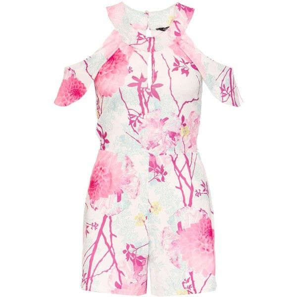 Dorothy Perkins **Quiz Cream and Pink Playsuit ($49) ❤ liked on Polyvore featuring jumpsuits, rompers, cream, pink rompers, dorothy perkins, pink romper, playsuit romper and patterned romper