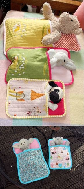 "Sleeping Bags for Soft Toys. As soon as I saw the original pin, I knew Clare would love a few of these for her tribe of lambs and cats. I downloaded the pattern from this link and found it very easy to follow. Also a really good ""sampler"" for those, like myself, who are just starting out on machine quilting. Clare loves them and wants more..."