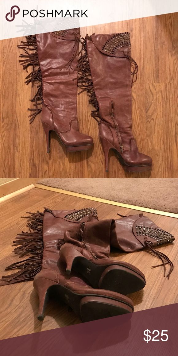 """Brown fringe heel boots Miss Robertson for Boston Proper brown leather high heel knee high boots. Fringe detail up the back with jewels around top. Short zipper inside for ease of getting them on. Only worn a handful of times. No box. Have a little wear on each toe from storage, price reflects this. 5 1/2"""" heel, 1"""" platform. Miss Robertson Shoes Over the Knee Boots"""