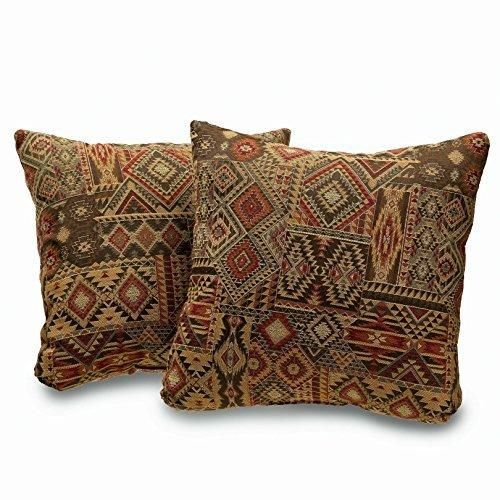 18x18 Brown Red Southwestern Throw Pillows Geometric Tribal Pattern Southwest Rustic Country Themed Pillow Square Chevron Medallion Headrest Cushion