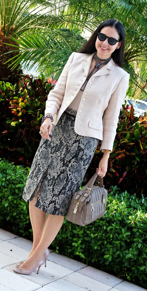 exotic print #pencil_skirt with a tailored #jacket in soft and pale pink.