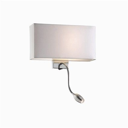 Hotel Ap2 Off White Reference:  035949 Double bulb: internal and external. Shade coted with fabric and closed on the top and the bottom by frosted glass slabs. Metal chrome body light with independent switch outside.