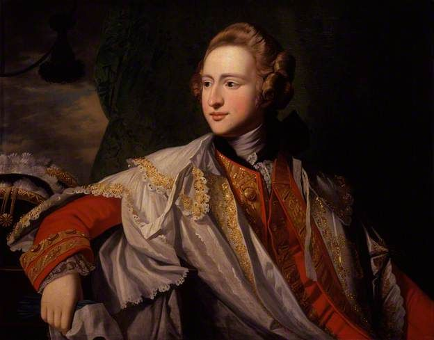 1770 ca.  'Francis Osborne, 5th Duke of Leeds (1751-99)', attributed to Benjamin West. (sourced via BBC Your Paintings). Note the white silk domino, trimmed with gold on unhemmed scalloped edges. bbc.co.uk