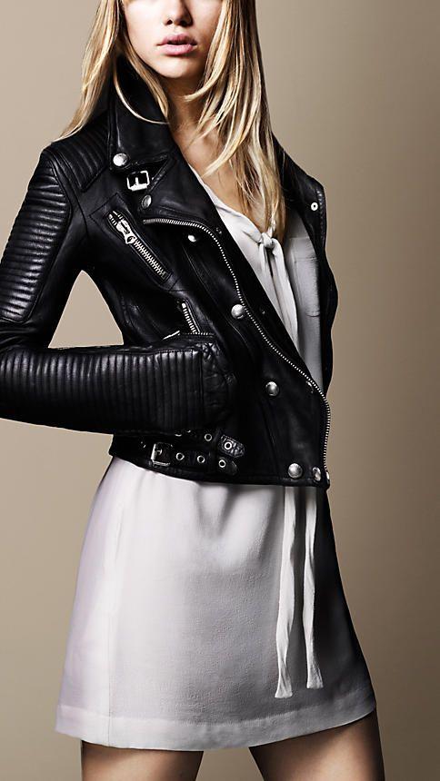 burberry washed leather biker jacket