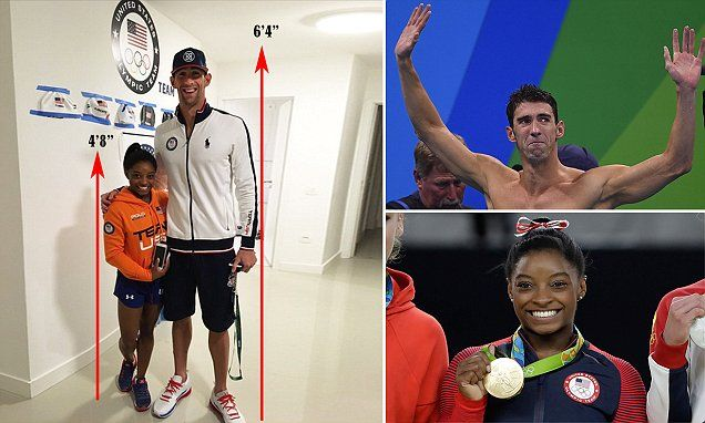 """6ft 4"""" Michael Phelps towers over 4ft 8"""" Simone Biles in Twitter photo"""