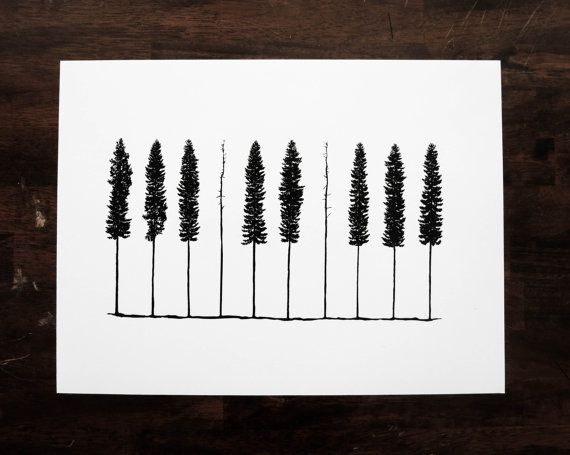 Piano Pines 12x16 One Color Screenprint by HeretoTherePrints, $30.00