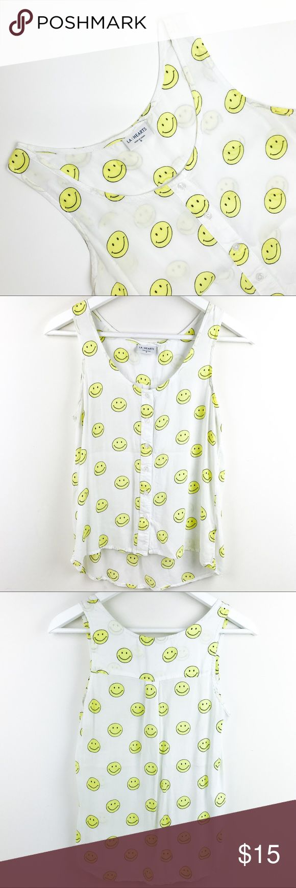 LA HEARTS smiley faces tank top 🙂 Perfect for the summer.🌼 Cute, fun and comfy! True to size. In great condition! 🙂 La Hearts Tops Tank Tops