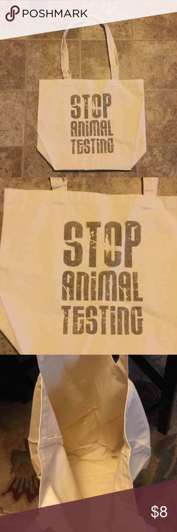 Stop Animal Testing Canvas ASPCA Tote Bag NEW Stop Animal Testing Canvas ASPCA Tote Bag NEW ASPCA Bags Totes