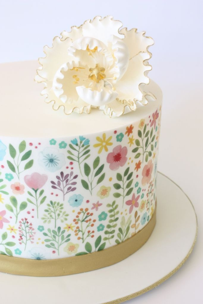 70th Birthday cake By Stylishly Sweet Cakes. Art work printed on the side by Melanie Pennell Design | Edible Art