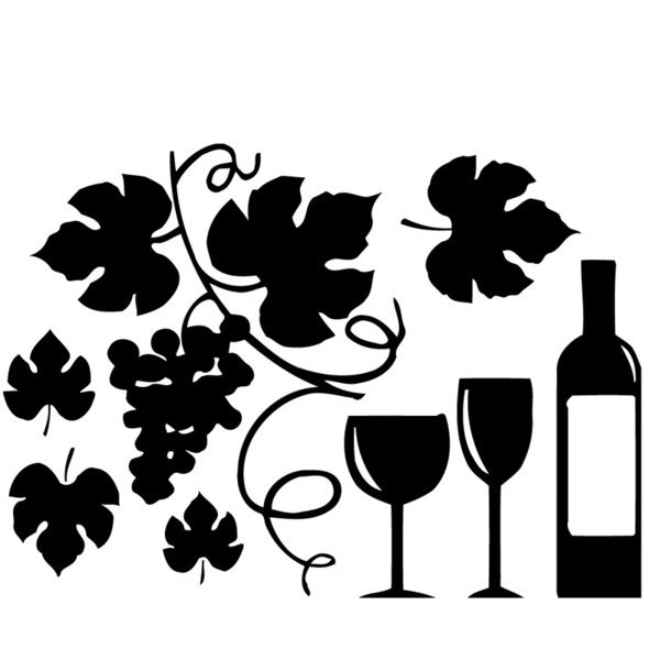 Grapes and Wine Bottle Vinyl Wall Sticker Decal - 16010922 ...