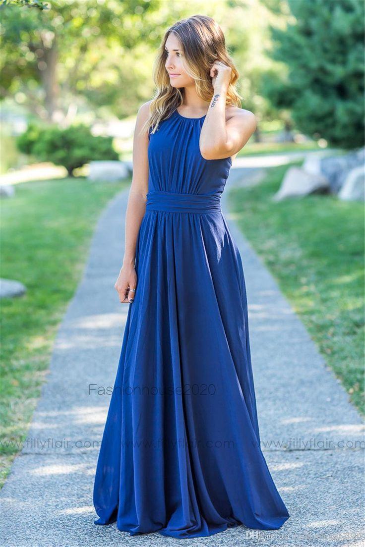 Royal Blue Chiffon Country Bridesmaid Dresses Long Lace Edge Halter Neck Beach Bridesmaids Dress Wedding Guest Gowns Custom Design
