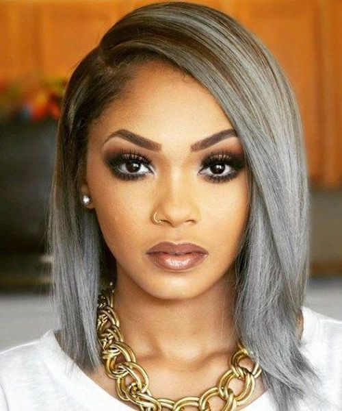 Fresh And Trendy Shoulder Length Grey Hairstyles 2019 For African