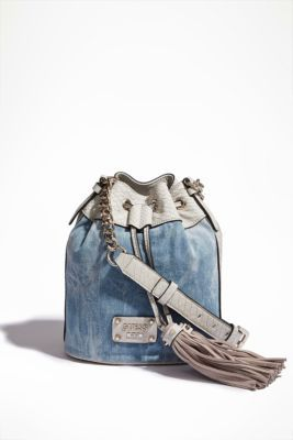Denim Sky Drawstring Bag | GUESS.com
