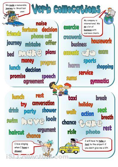English Vocabulary - Collocations - MAKE, DO, HAVE, TAKE