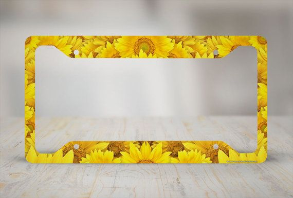 Sunflower License Plate Frame Sunflower Car Tag by Airstrikeinc