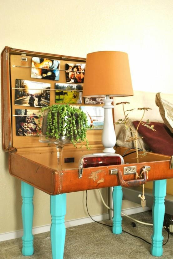 table and display case made from old suitcase