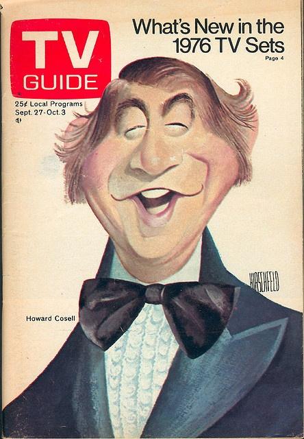 "September 27, 1975. Howard Cosell of ABC's ""Saturday Night Live with Howard Cosell"" and ""Monday Night Football"" (illus. by Al Hirschfeld)."