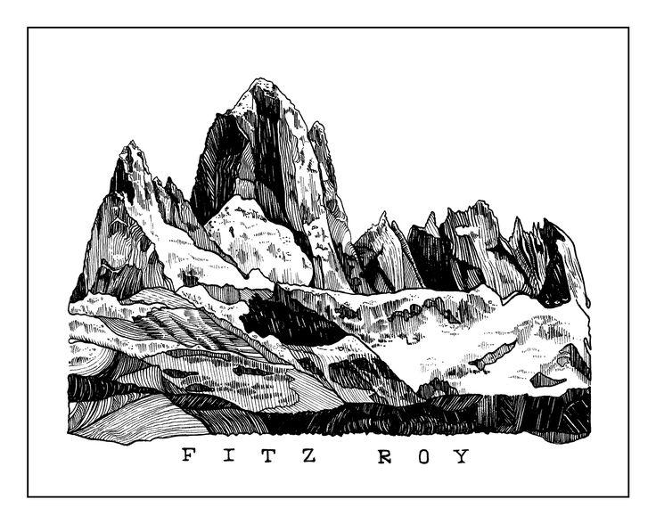 Fitz Roy Mountain in Patagonia Illustration