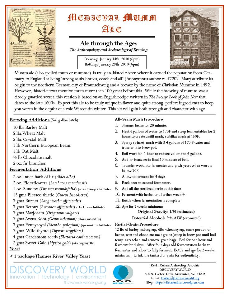 """English Mumm recipe: """"an invoice dated to 1390 for beer sold to the city of Braunschweig for a feast mentions the drink """"mumm"""""""