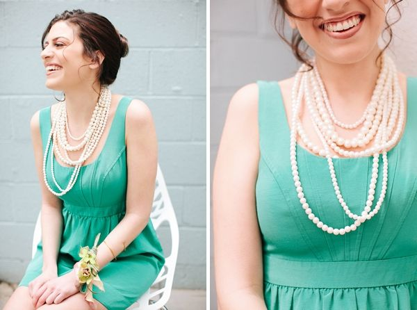 Aqua bridesmaid dress with layered pearls- love! // photo by Katie Stoops, styling by www.bellwetherevents.com, dresses and accessories by Rent The Runway