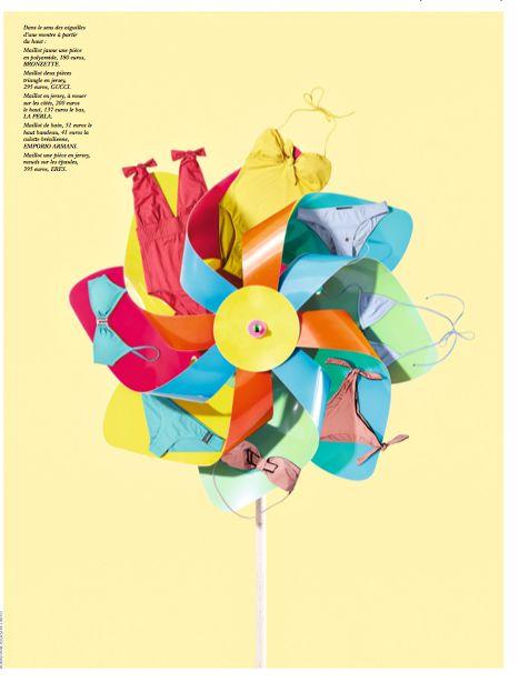 Dans le sens des aiguilles d'une montre à partir du haut : Maillot jaune une pièce en polyamide, 180 euros, Bronzette. Maillot deux pièces triangle en jersey, 295 euros, Gucci. Maillot en jersey, à nouer sur les côtés, 200 euros le haut, 137 euros le bas, La PerLa. Maillot de bain, 51 euros le haut bandeau, 41 euros la culotte brésilienne, eMPorio arMani. Maillot une pièce en jersey, nœuds sur les épaules, 395 euros, eres.