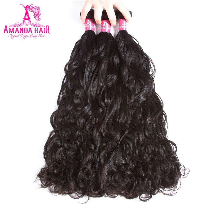 Amanda Brazilian Water Wave Human Hair 3 Bundles Natural Color Wet And Wavy 100% Remy Human Hair Extension 8''-28''