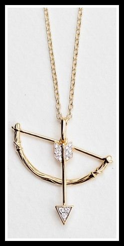 India Hick Swinging Bow and Arrow Pendant. Via Diamonds in the Library's jewelry gift guide.