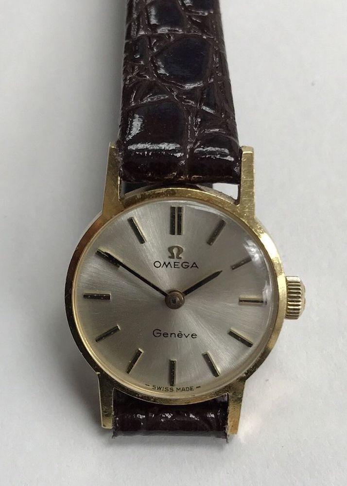 Omega Geneva Swiss Made 14K Real gold watch with brand new brown leather strap. | eBay!
