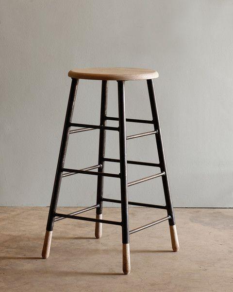 Gordon Stools - Whitewash vintage ladder feel, esp radius/eased transition of rungs to legs