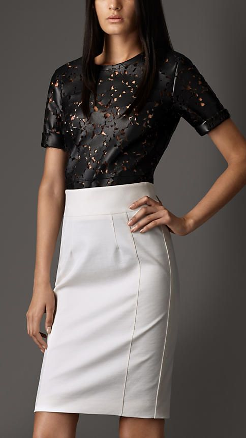 Bonded Leather Laser-Cut Lace Top   Burberry