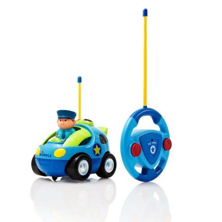 matashi cartoon remote control rc police car for kids and toddlers with