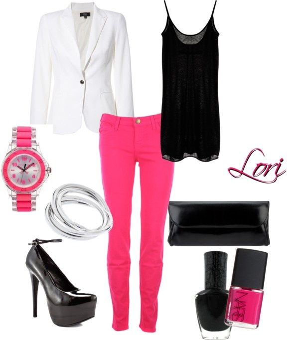 This pink and black combination is just so dateless. Worn with a white  blazer completes the outfit! - Best 20+ Women's Pink Jeans Ideas On Pinterest Women's Pink