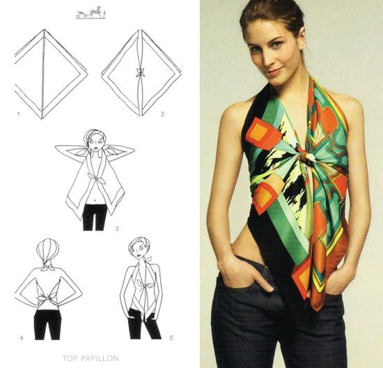 How to wear a 140 cm scarf How To Wear Hermes Scarf As A Top
