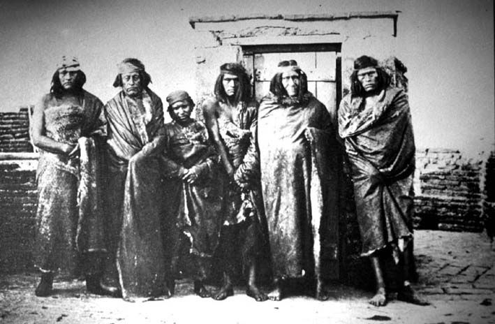 The Tehuelche Indians of Patagonia wear clothing and long hair that exaggerates their height. They were definitely taller than the 16th-century Europeans who first saw them. There were about 6,000 Tehuelches left in 2001. Candidate for: Patagonian giant.